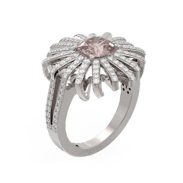2.95 ctw Morganite & Diamond Ring 18K White Gold - REF-190F9M