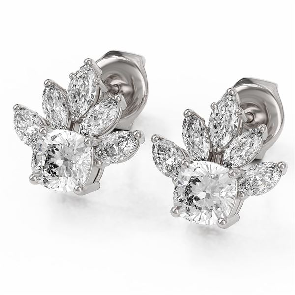 1.75 ctw Cushion Cut Diamond Designer Earrings 18K White Gold - REF-168Y8X