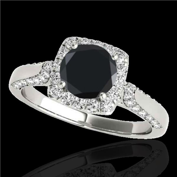 1.5 ctw Certified Black Diamond Solitaire Halo Ring 10k White Gold - REF-53F2M