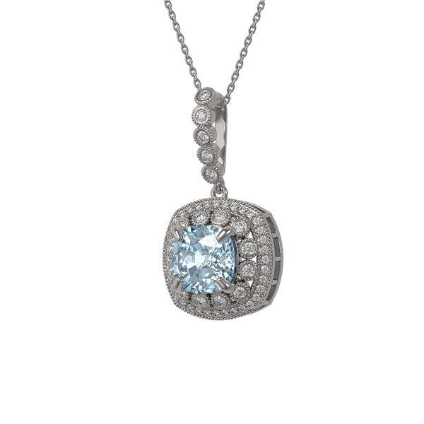 5.28 ctw Aquamarine & Diamond Victorian Necklace 14K White Gold - REF-209M3G