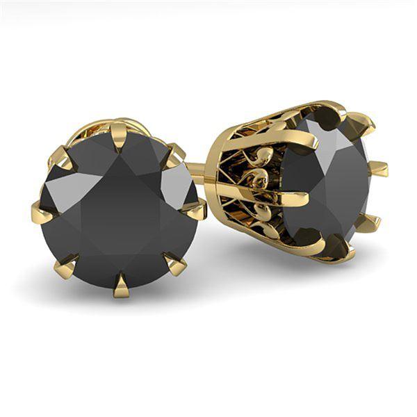 3.0 ctw Black Diamond Stud Solitaire Earrings Vintage 18k Yellow Gold - REF-117M2G