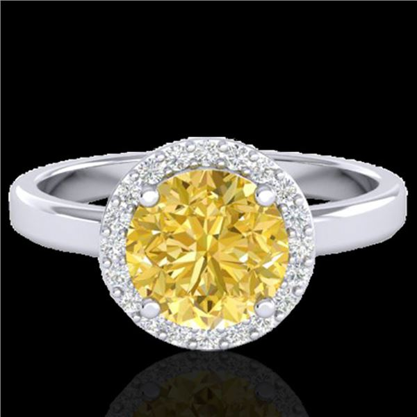 2 ctw Citrine & Halo VS/SI Diamond Micro Pave Ring 18k White Gold - REF-37N6F