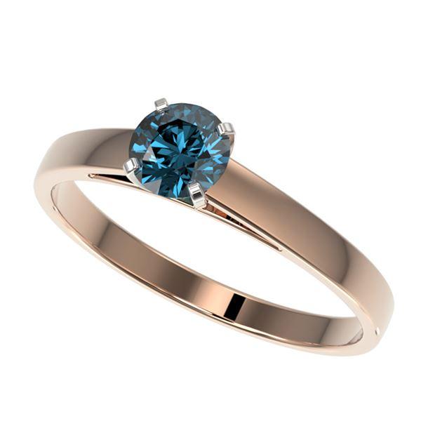 0.56 ctw Certified Intense Blue Diamond Engagment Ring 10k Rose Gold - REF-41M2G