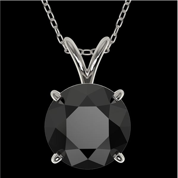 2 ctw Fancy Black Diamond Solitaire Necklace 10k White Gold - REF-35W6H