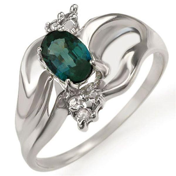 0.79 ctw Blue Sapphire & Diamond Ring 18k White Gold - REF-37R3K