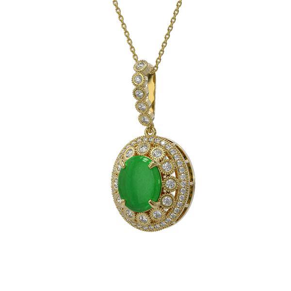 5.51 ctw Jade & Diamond Victorian Necklace 14K Yellow Gold - REF-156H8R