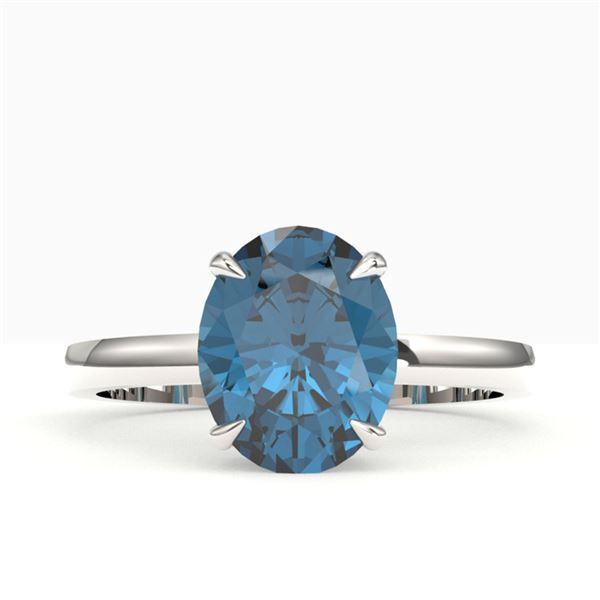 3.50 ctw London Blue Topaz Designer Solitaire Ring 18k White Gold - REF-27N2F