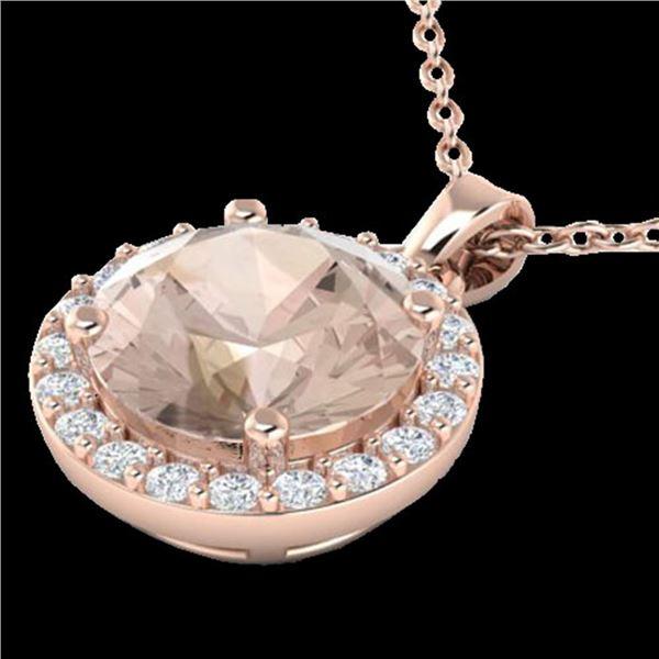 1.75 ctw Morganite & Halo VS/SI Diamond Micro Necklace 14k Rose Gold - REF-42Y3X