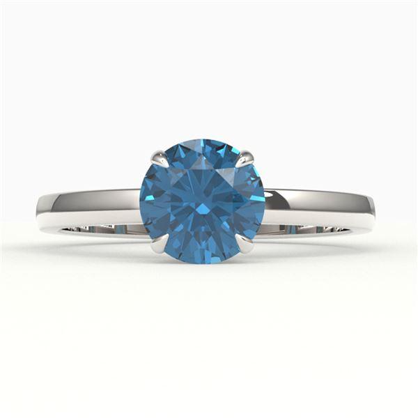 2 ctw London Blue Topaz Engagment Ring 18k White Gold - REF-23G2W