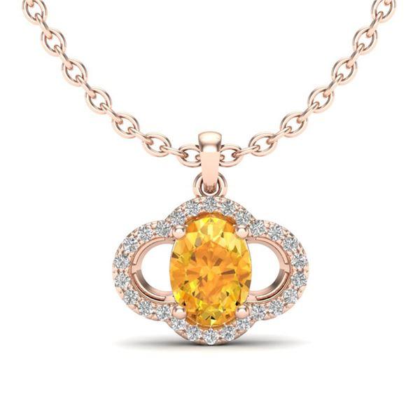 1.75 ctw Citrine & Micro Pave VS/SI Diamond Necklace 10k Rose Gold - REF-22G3W