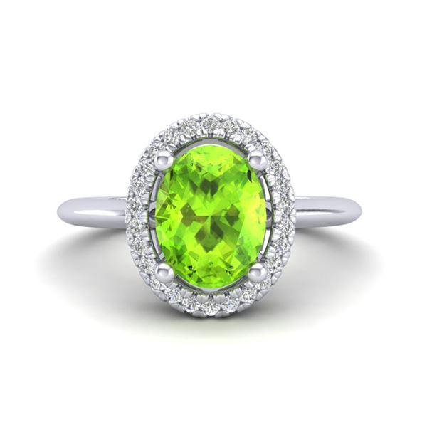 1.75 ctw Peridot & Micro VS/SI Diamond Ring Halo 18k White Gold - REF-39K8Y