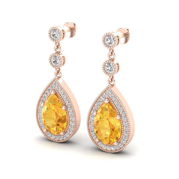 4.50 ctw Citrine & Micro VS/SI Diamond Earrings Designer 14k Rose Gold - REF-47G9W