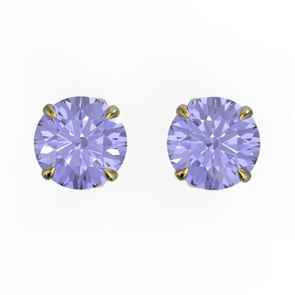4 ctw Tanzanite Designer Stud Earrings 18k Yellow Gold - REF-46K4Y