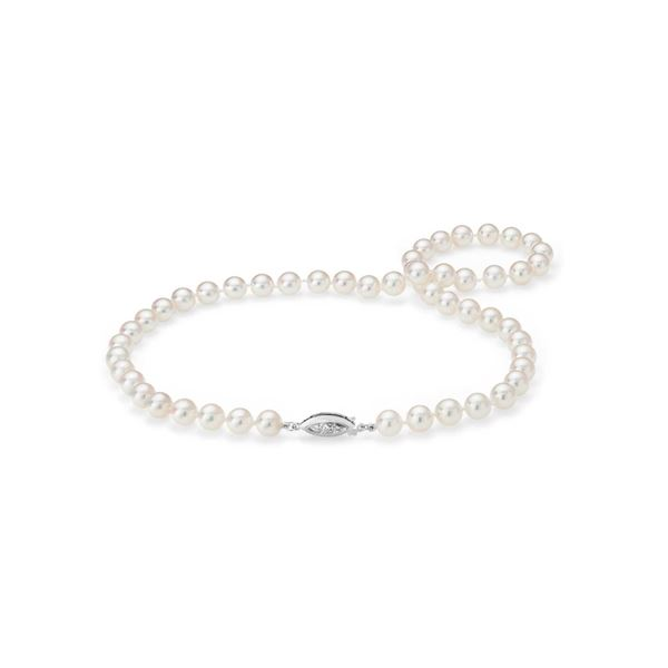"""11 mm Akoya Cultured Pearl 17"""" Necklace Lock 14k White Gold - REF-6A3F"""
