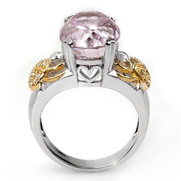 9.20 ctw Kunzite & Diamond Ring 10K 2-Tone 10k 2-Tone Gold - REF-145R5K