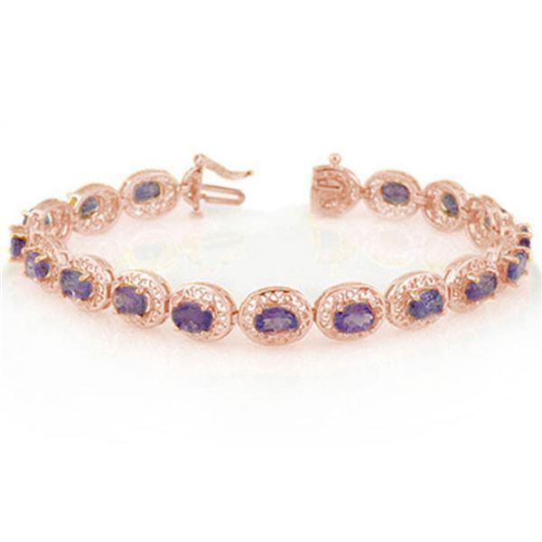 18.0 ctw Tanzanite Bracelet 14k Rose Gold - REF-123F6M