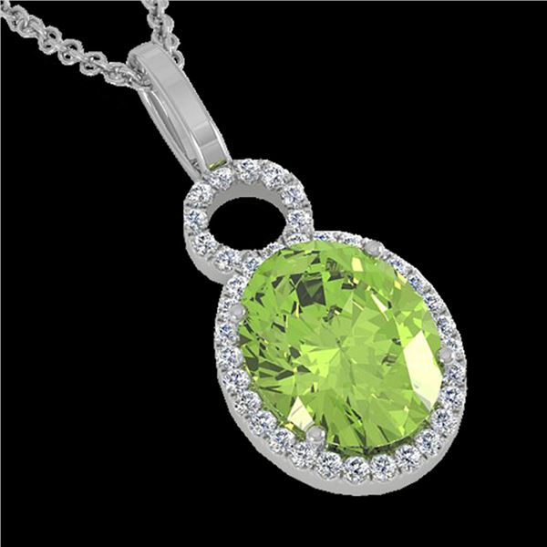 3 ctw Peridot & Micro Pave Halo VS/SI Diamond Necklace 14k White Gold - REF-41X6A