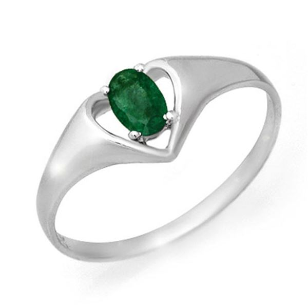 0.25 ctw Emerald Ring 10k White Gold - REF-7X2A