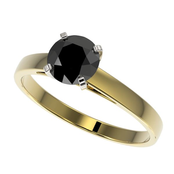 1 ctw Fancy Black Diamond Solitaire Engagment Ring 10k Yellow Gold - REF-23W2H