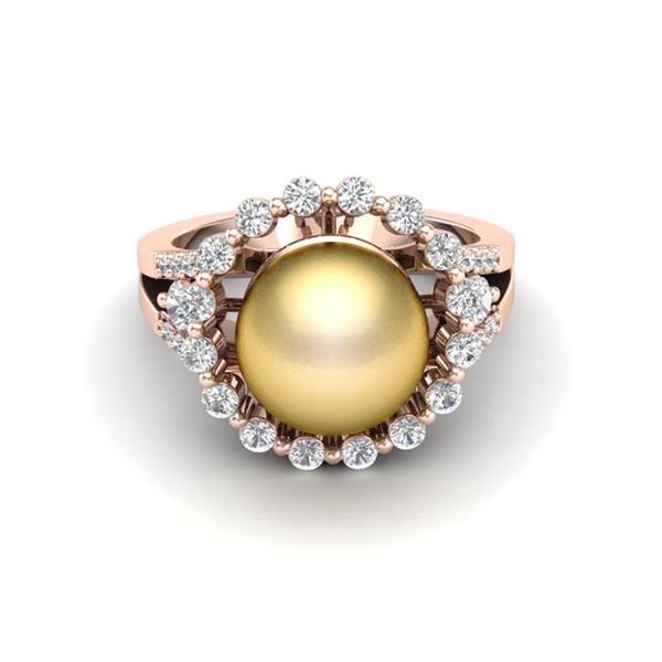 0.83 CT Micro Pave VS/SI Diamond & Golden Pearl Ring 14k Rose Gold - REF-55W5H