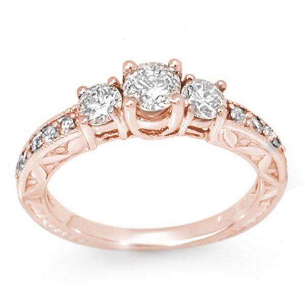 0.95 ctw Certified VS/SI Diamond Ring 14k Rose Gold - REF-129M5G