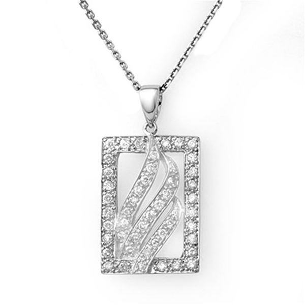 0.45 ctw Certified VS/SI Diamond Necklace 18k White Gold - REF-44A5N