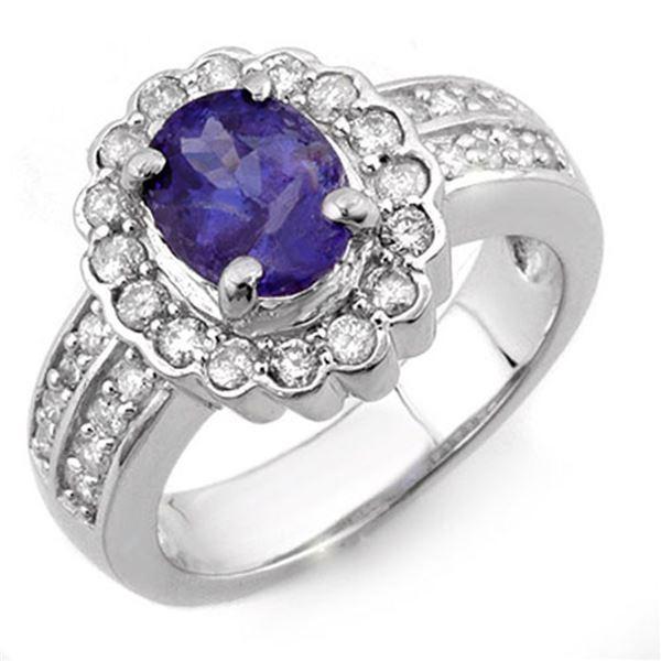 2.60 ctw Tanzanite & Diamond Ring 14k White Gold - REF-100F2M