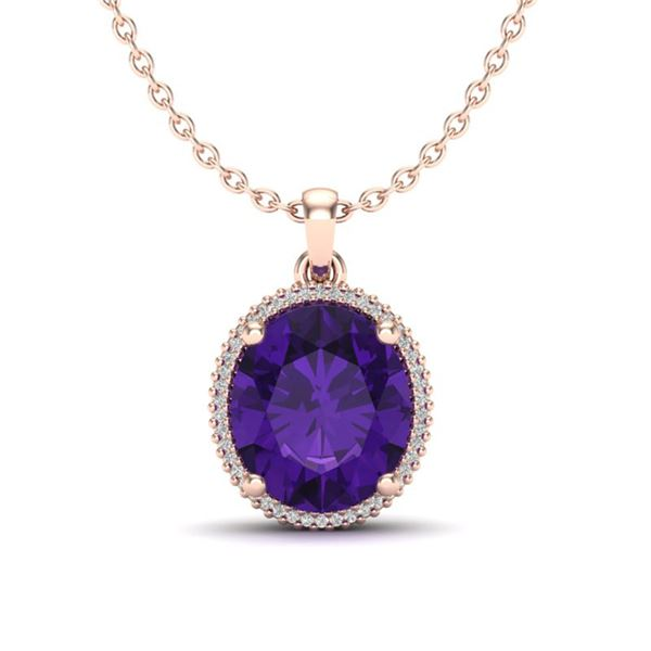 10 ctw Amethyst & Micro Pave VS/SI Diamond Necklace 14k Rose Gold - REF-51Y2X