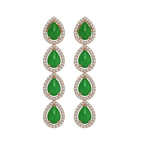 6.20 ctw Jade & Diamond Micro Pave Halo Earrings 10k Rose Gold - REF-158Y2X