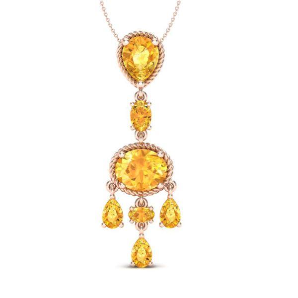8 ctw Citrine Necklace Designer Vintage 10k Rose Gold - REF-25R8K