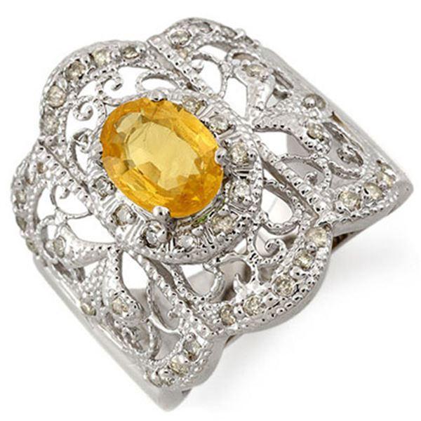 2.40 ctw Yellow Sapphire & Diamond Ring 14k White Gold - REF-92Y8X