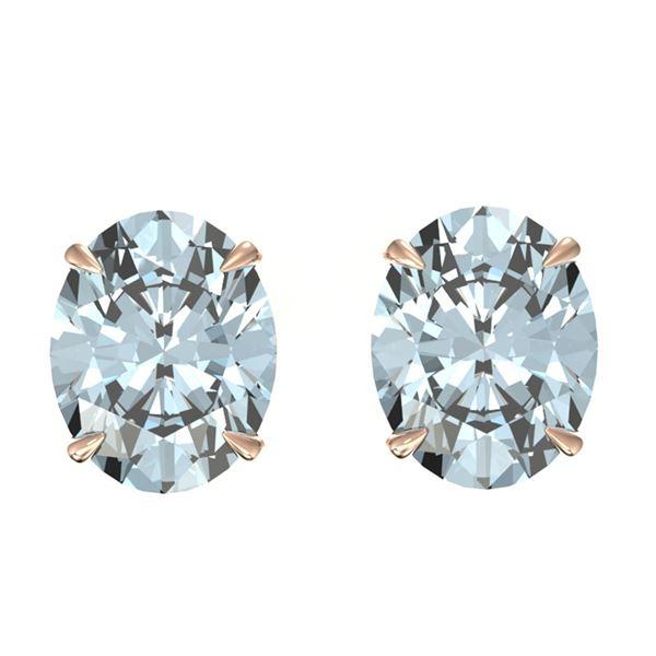 5 ctw Aquamarine Designer Stud Earrings 14k Rose Gold - REF-46H5R