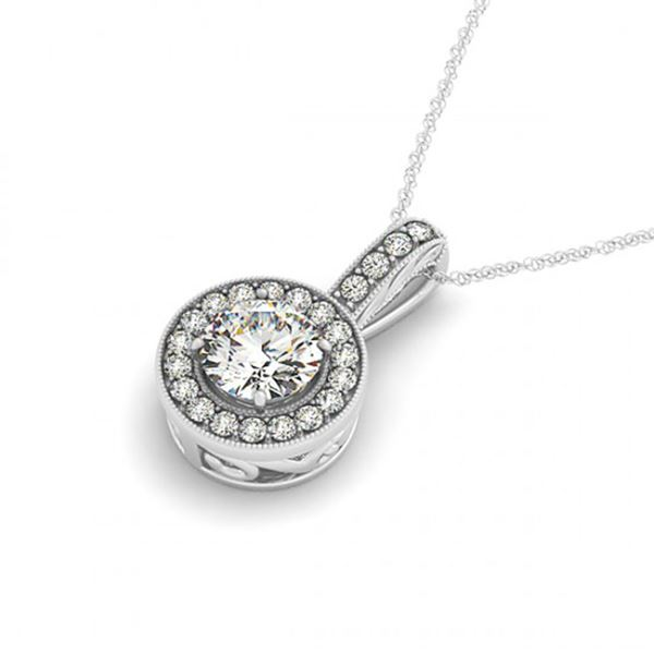 0.5 ctw Certified SI Diamond Halo Necklace 14k White Gold - REF-46K5Y