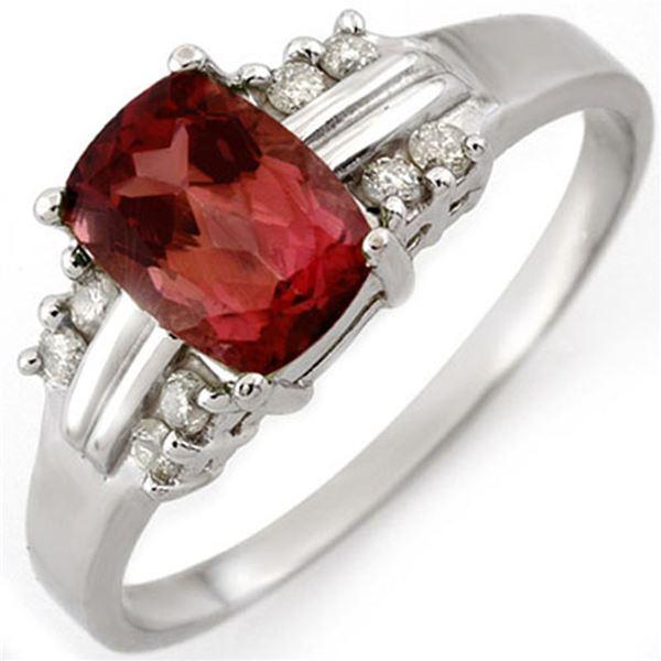 1.41 ctw Pink Tourmaline & Diamond Ring 18k White Gold - REF-32A2N