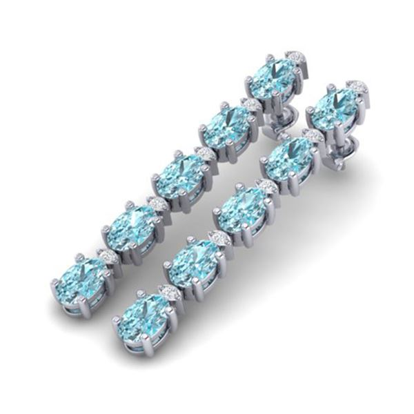 15.47 ctw Sky Blue Topaz & VS/SI Certified Diamond Earrings 10k White Gold - REF-81M8G
