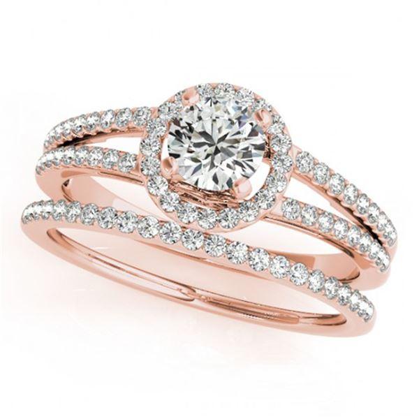 0.85 ctw Certified VS/SI Diamond 2pc Wedding Set Halo 14k Rose Gold - REF-111H8R