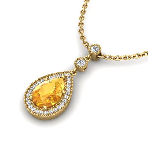 2.25 ctw Citrine & Micro Pave VS/SI Diamond Necklace 18k Yellow Gold - REF-34G6W