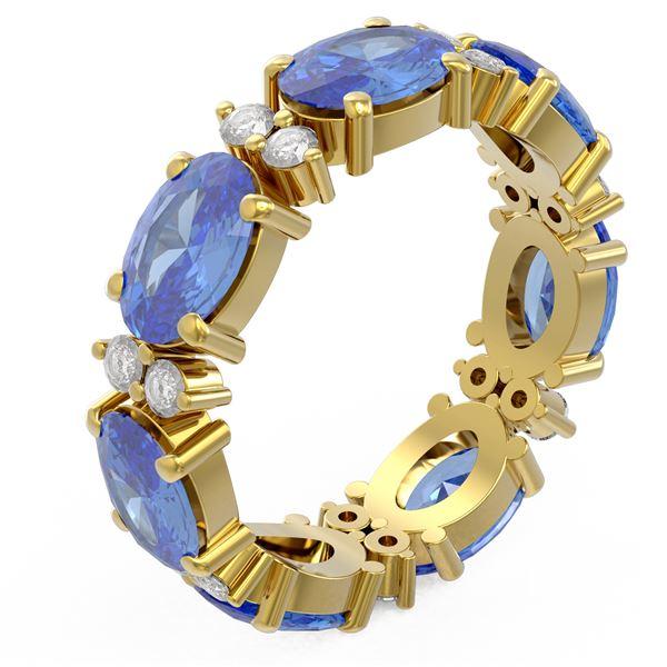 7.99 ctw Tanzanite Ring 18K Yellow Gold - REF-139N6F