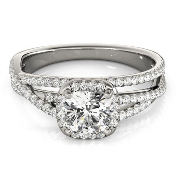 1 ctw Certified VS/SI Cushion Diamond Halo Ring 18k White Gold - REF-137R5K