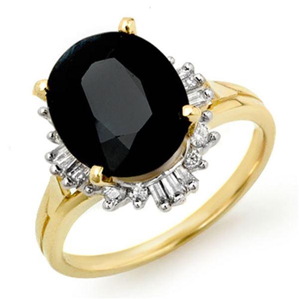 3.88 ctw Blue Sapphire & Diamond Ring 14k Yellow Gold - REF-50H8R