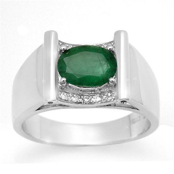 1.83 ctw Emerald & Diamond Men's Ring 10k White Gold - REF-46W5H