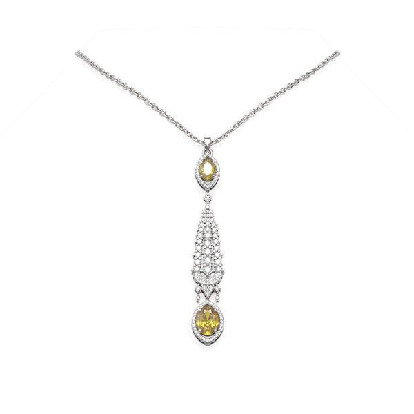 4.98 ctw Citrine & Diamond Necklace 18K White Gold - REF-205H8R