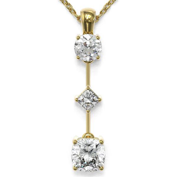 1.16 ctw Cushion Cut Diamond Designer Necklace 18K Yellow Gold - REF-163Y3X