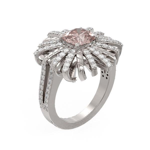 2.83 ctw Morganite & Diamond Ring 18K White Gold - REF-176G9W