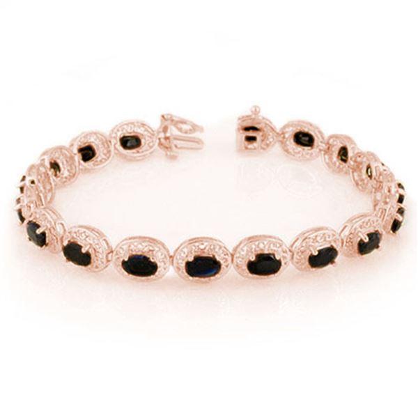 12.0 ctw Blue Sapphire Bracelet 10k Rose Gold - REF-118W2H