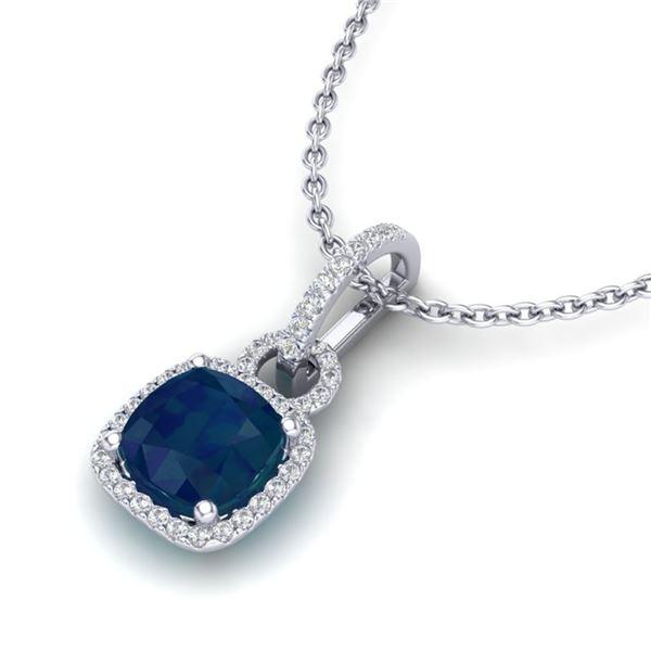 3 ctw Sapphire & Micro VS/SI Diamond Certified Necklace 18k White Gold - REF-56R2K