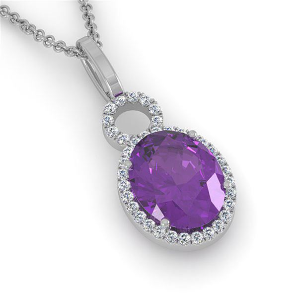3 ctw Amethyst & Micro Pave VS/SI Diamond Necklace 14k White Gold - REF-33K8Y