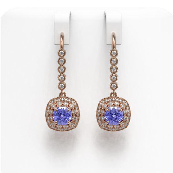 5.2 ctw Certified Tanzanite & Diamond Victorian Earrings 14K Rose Gold - REF-172R8K