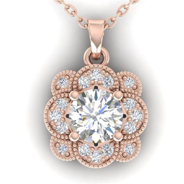 0.75 ctw VS/SI Diamond Art Deco Necklace 14k Rose Gold - REF-104G8W