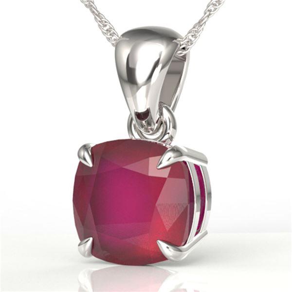 2 ctw Cushion Cut Ruby Designer Necklace 18k White Gold - REF-25N9F